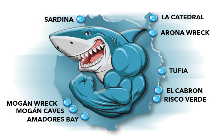 map of the diving sites in gran canaria