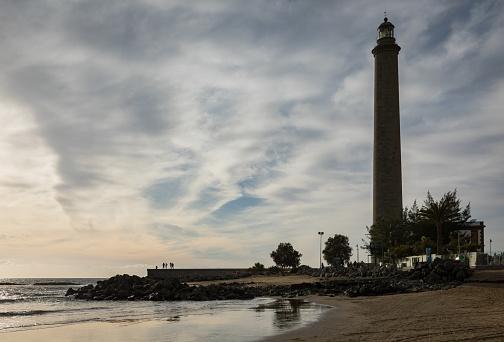 maspalomas lighthouse with sunset