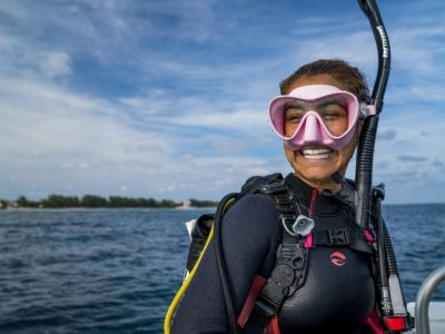 smiling diver on baot